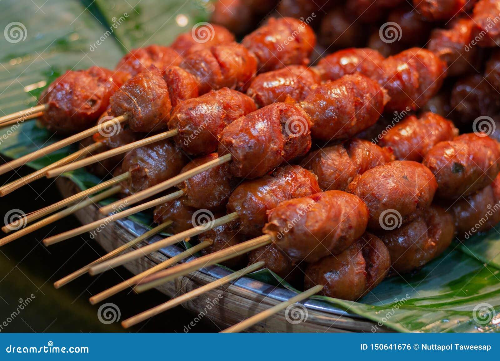 Thai food pork sausage , Thai hotdog