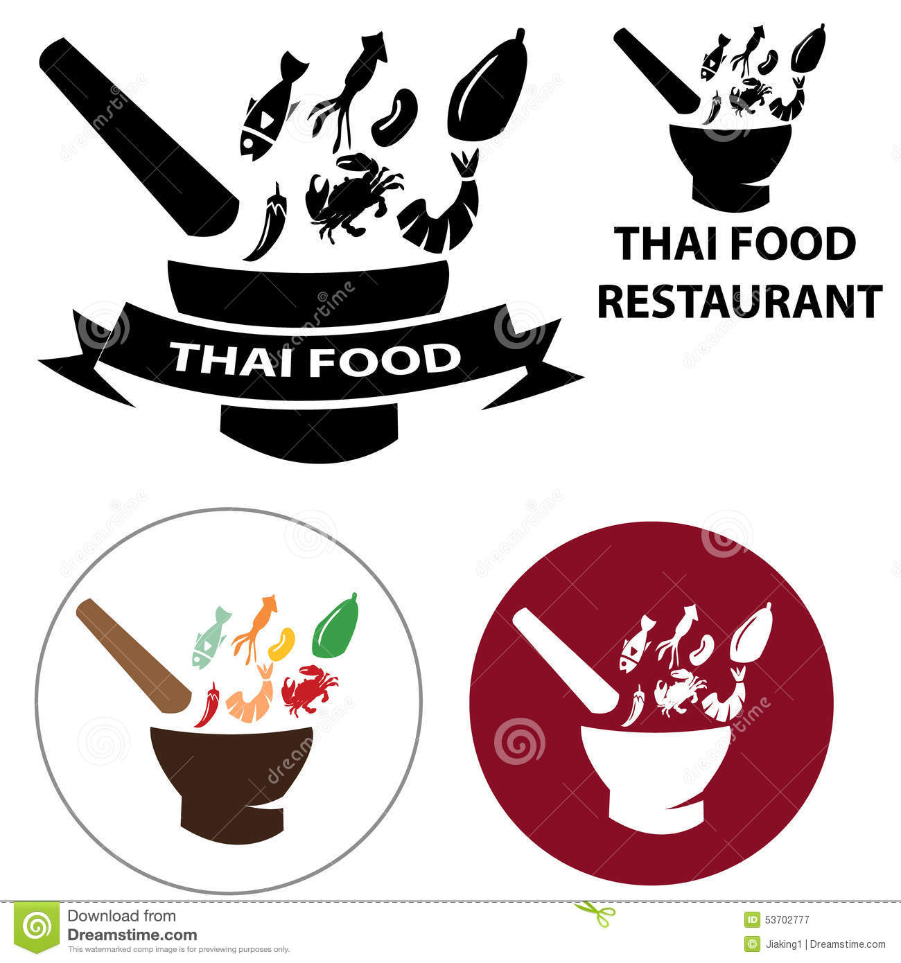Thai Food Restaurant Logo And Vector Icon With Isolated ...