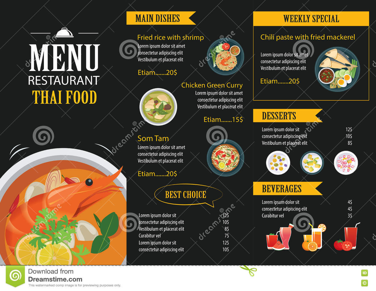 Thai Food Restaurant Menu Template Flat Design  Free Food Menu Template