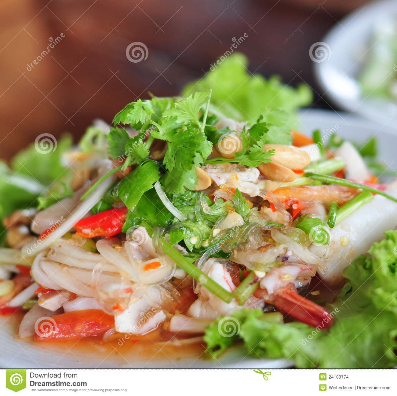 Stock Images: Thai food salad seafood shrimp and squid delicious
