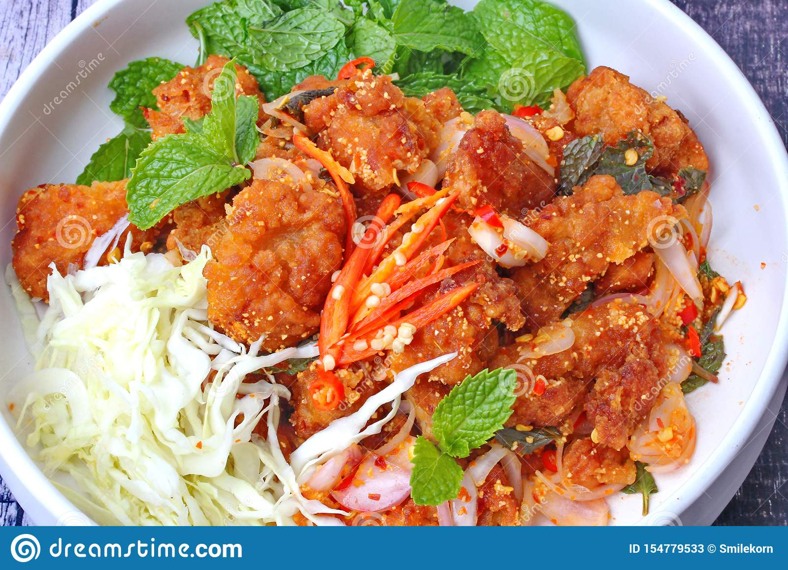Thai Food Spicy Crispy Deep Fried Chicken Salad Stock Image Image Of Crispy Fried 154779533