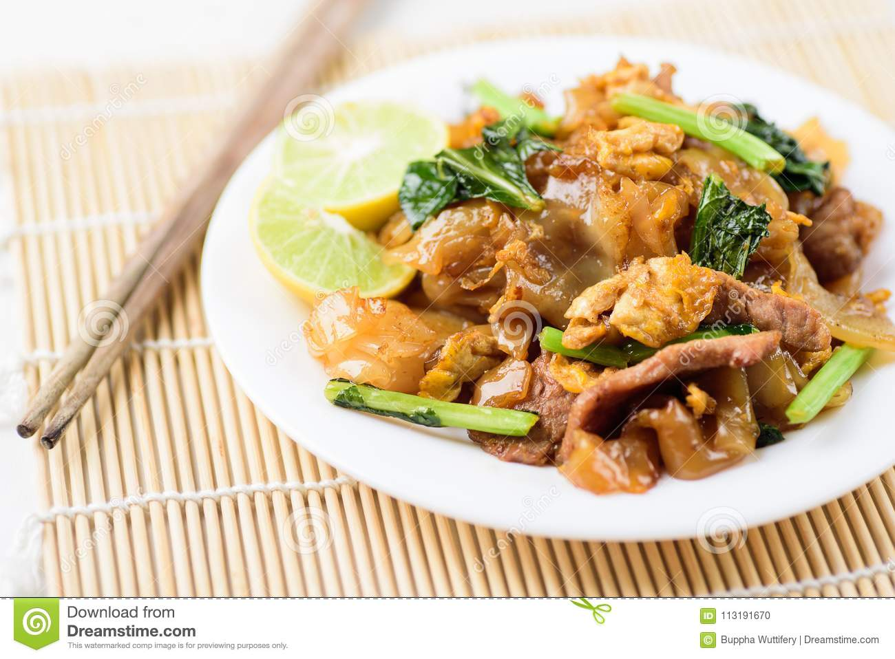 Thai food, stir fried rice noodles in soy sauce