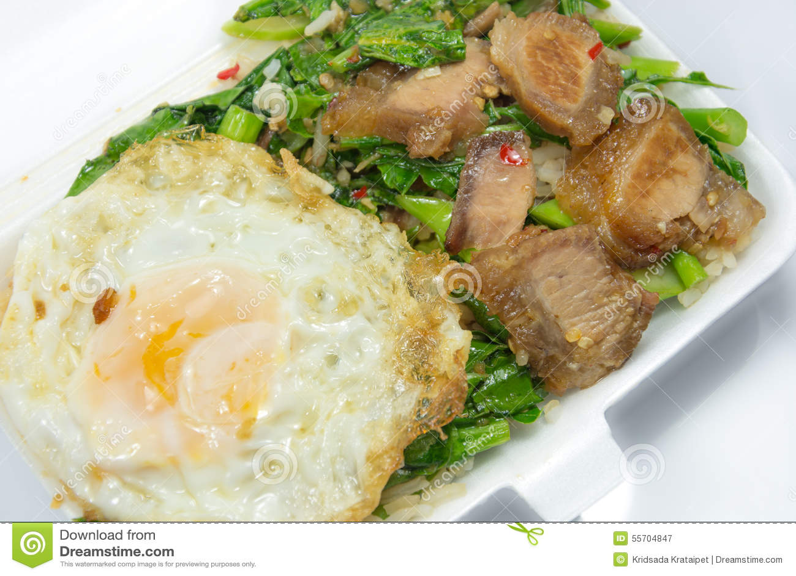 Thai Food - Stir Fry Crispy Pork With Kale (Kana Moo Grob) Stock