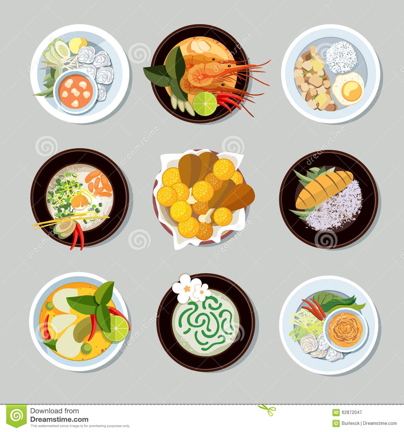Thai food vector icons set stock vector illustration of for Artistic cuisine menu