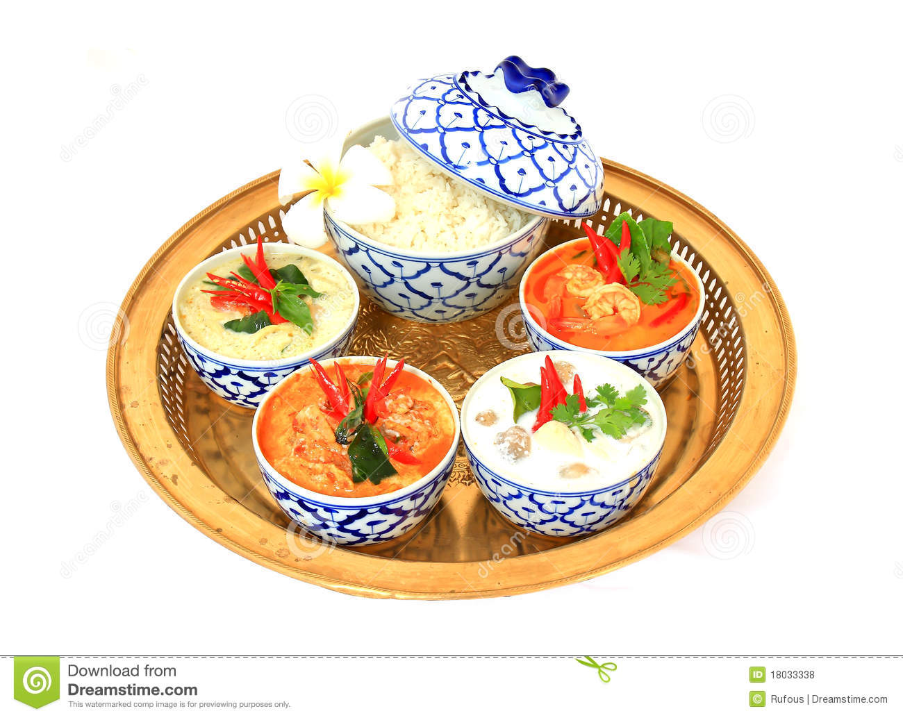 Thai Food On A White Background. Stock Photo - Image of ...