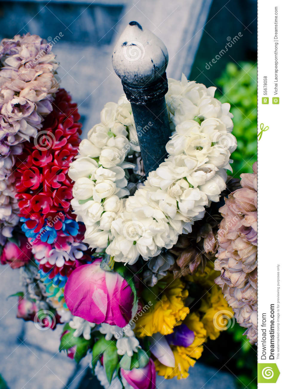 Thai Garland Of Colorful Flowers Stock Photo Image Of Symbol