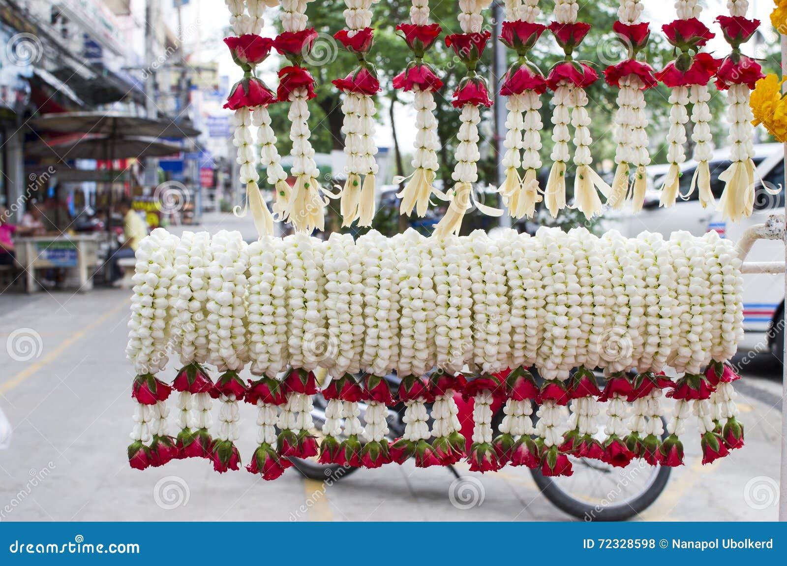 Thai garland stock photo image of buddhism buddha flower 72328598 traditional east asian buddhist offering made with jasmine flowers thailand izmirmasajfo
