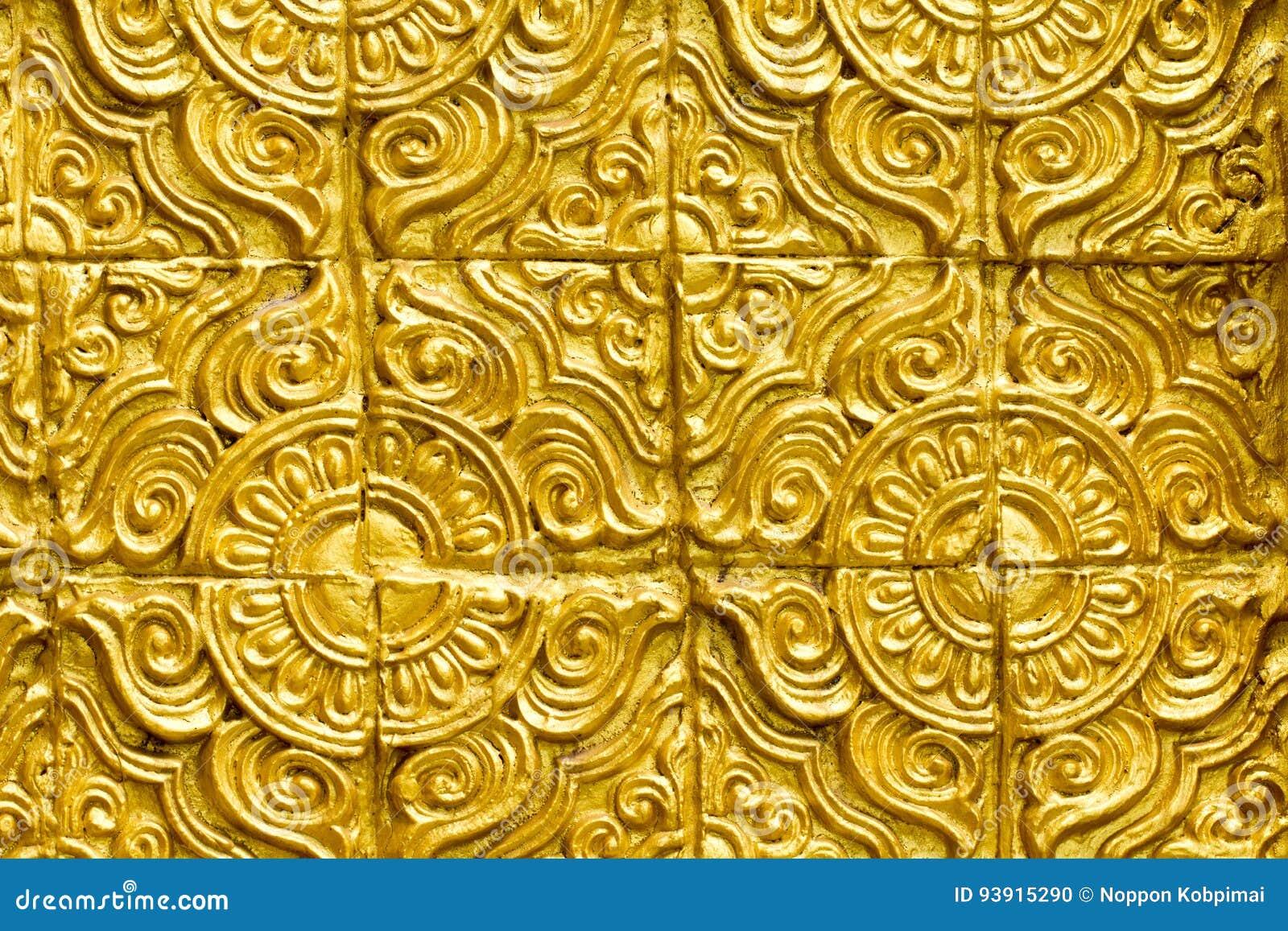 Thai Golden Wall Beautiful Design Texture Stock Photo
