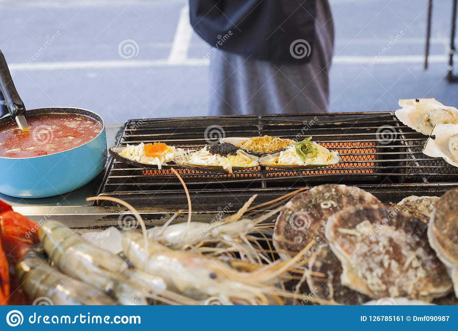 Scallops Grilled On Street Market In Phuket Thailand Stock Image