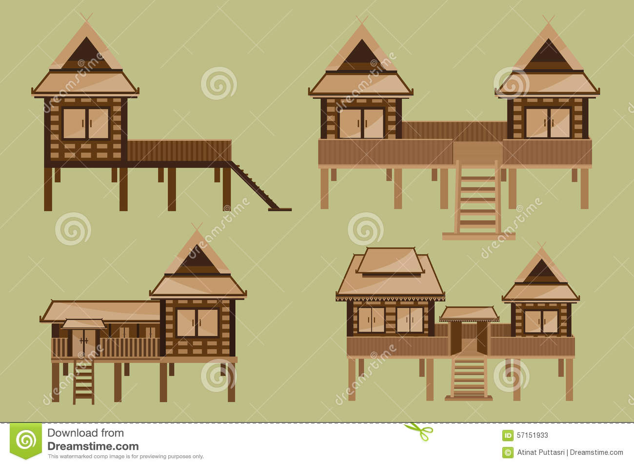 Thai House Design Stock Vector Image 57151933