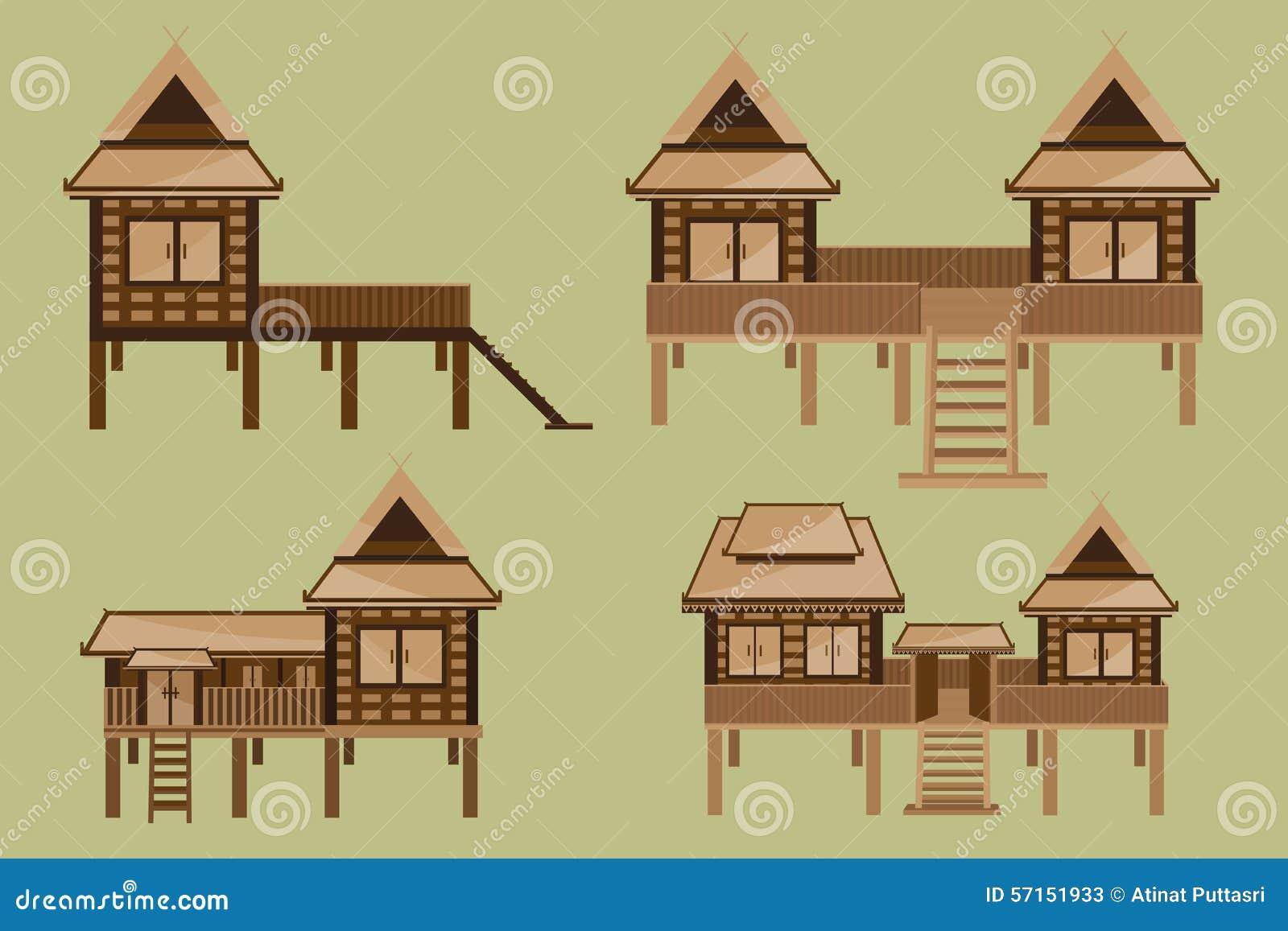 Thai house design stock vector image 57151933 for Architecture technique
