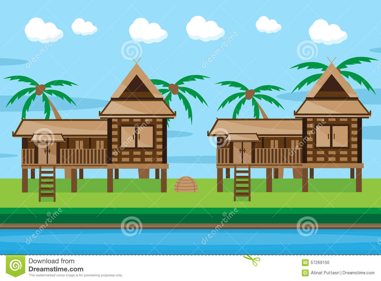 Thai house design stock vector image 57269150 for Thai style home designs