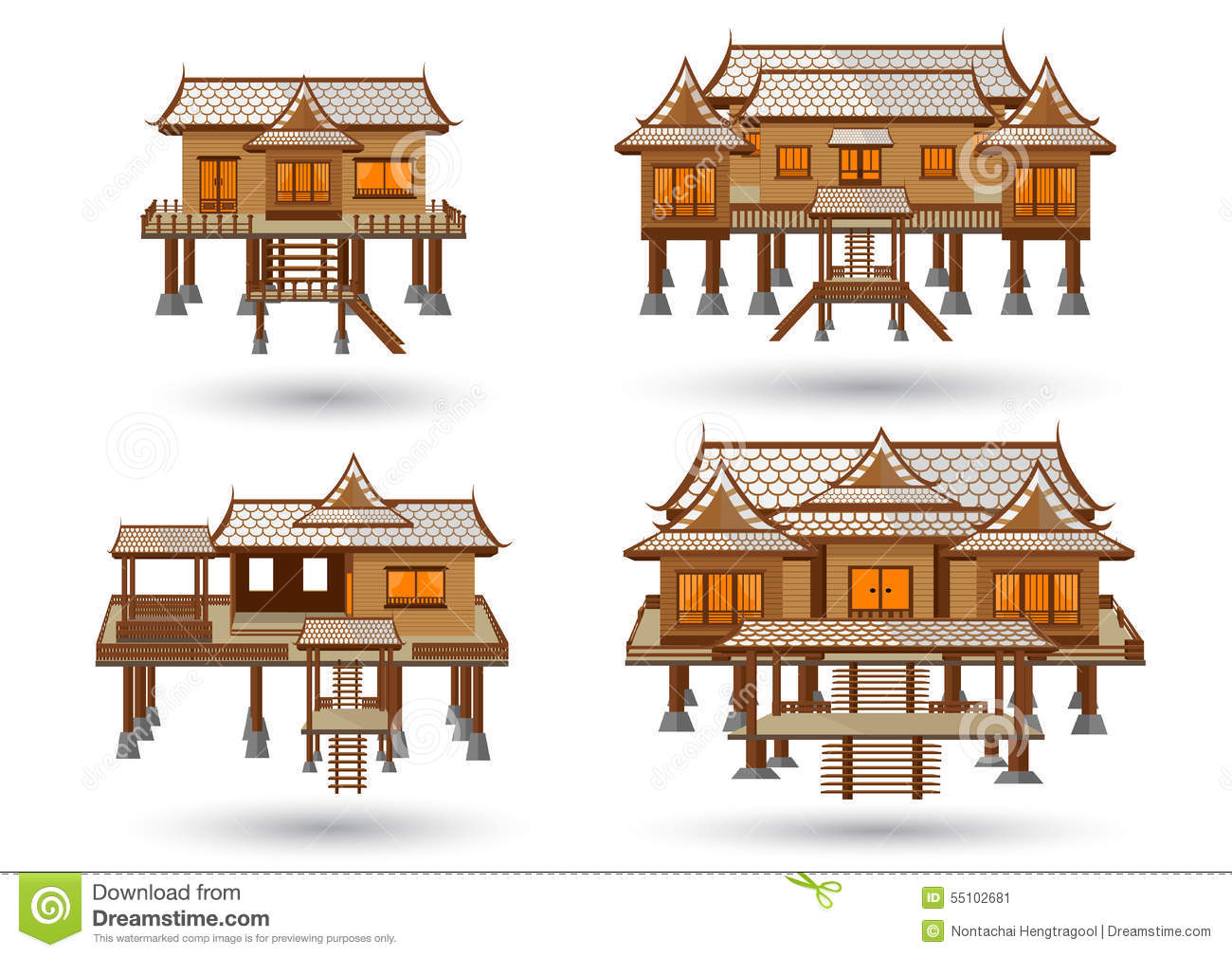 Thai house stock vector image 55102681 for Free thai house plans