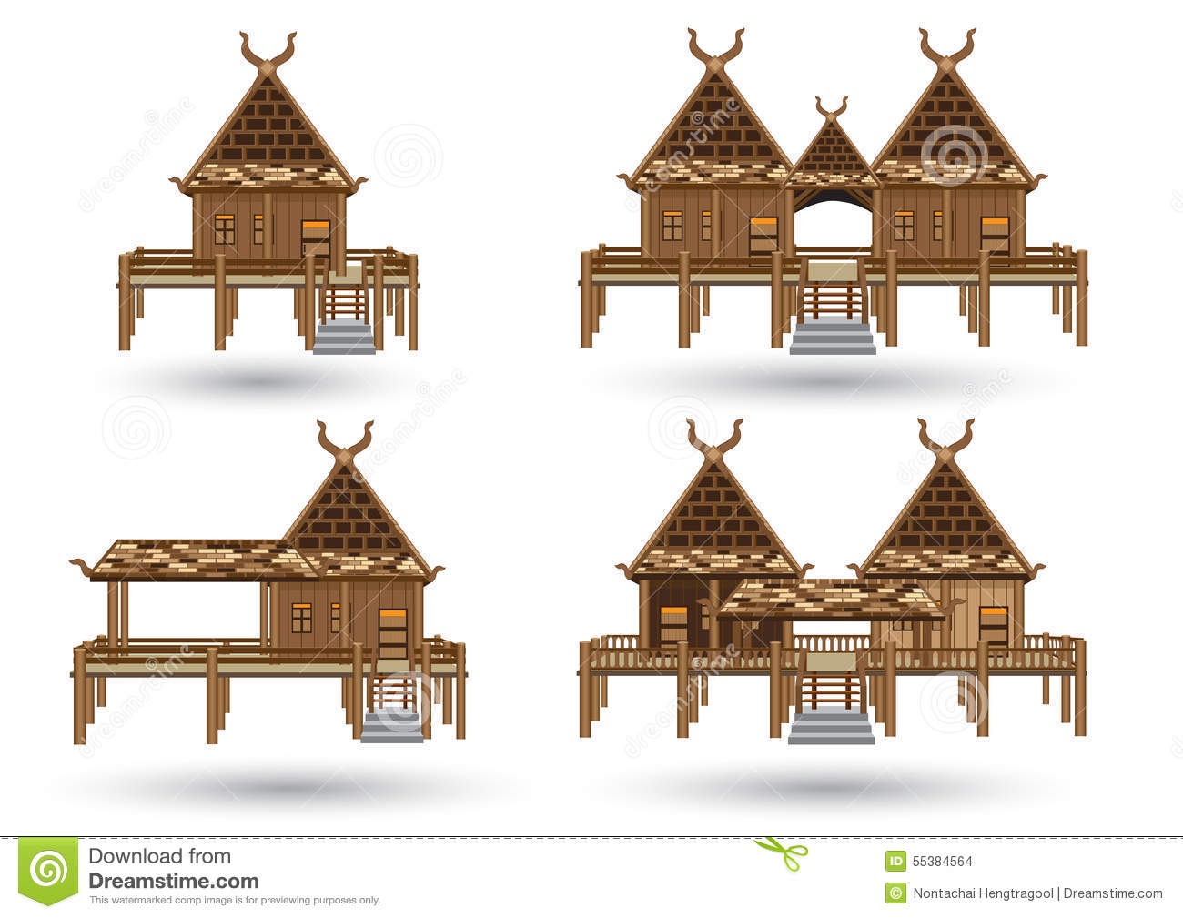 Thai house stock vector image of malaysia house for Thai style house design