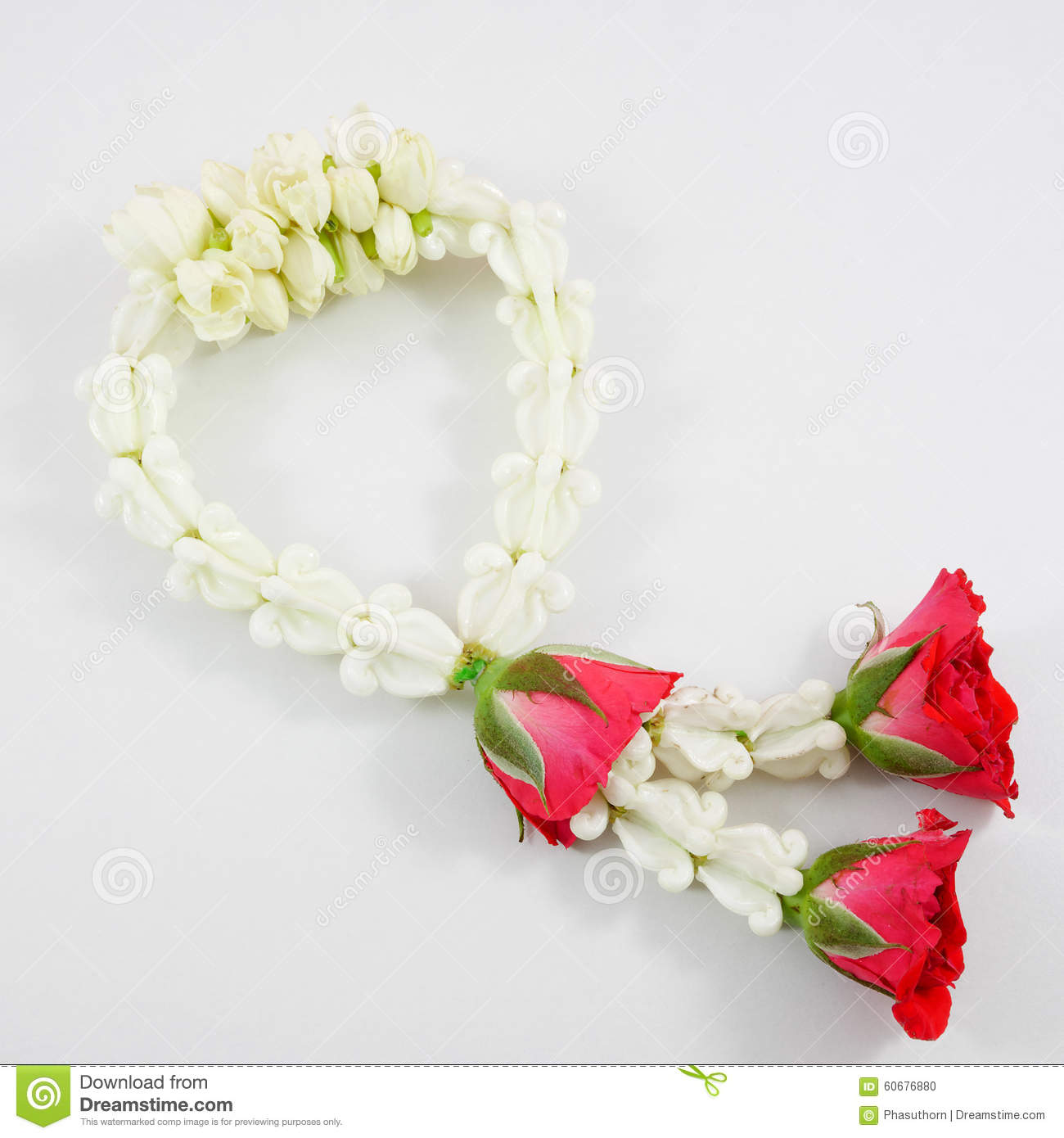 Thai jasmine garland stock photo image of buddhist flora 60676880 thai jasmine garland izmirmasajfo