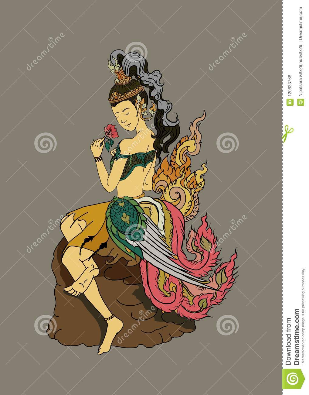 Thai lady tattoo.Thai pattern and Ancient art Young lady with flower.beautiful Thai girl doodle art and coloring book