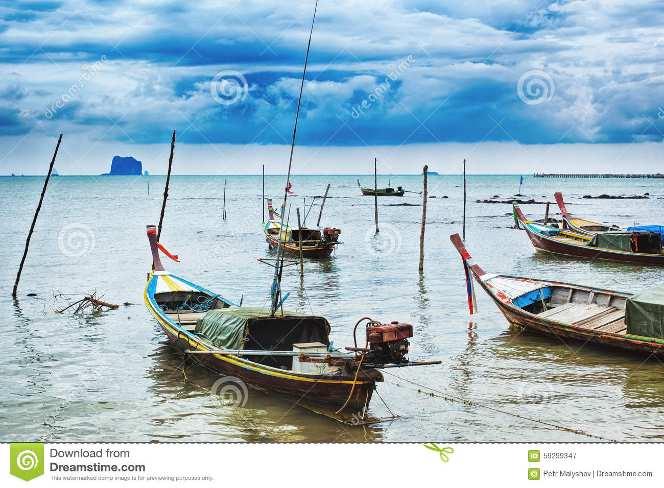 Download Thai Long Boats stock image. Image of lagoon, ocean, photo - 59299347