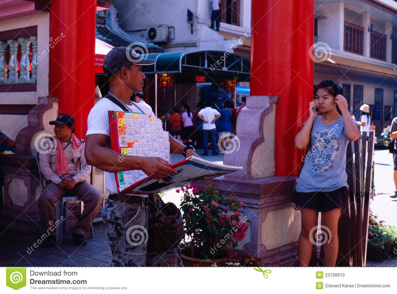 Thai lottery vendor at li thi miew temple chinese new year