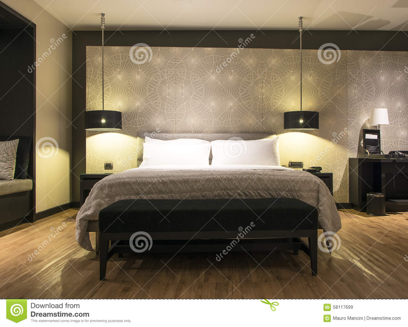 Thai luxury bedroom interior stock image image of leave for Clean interior design