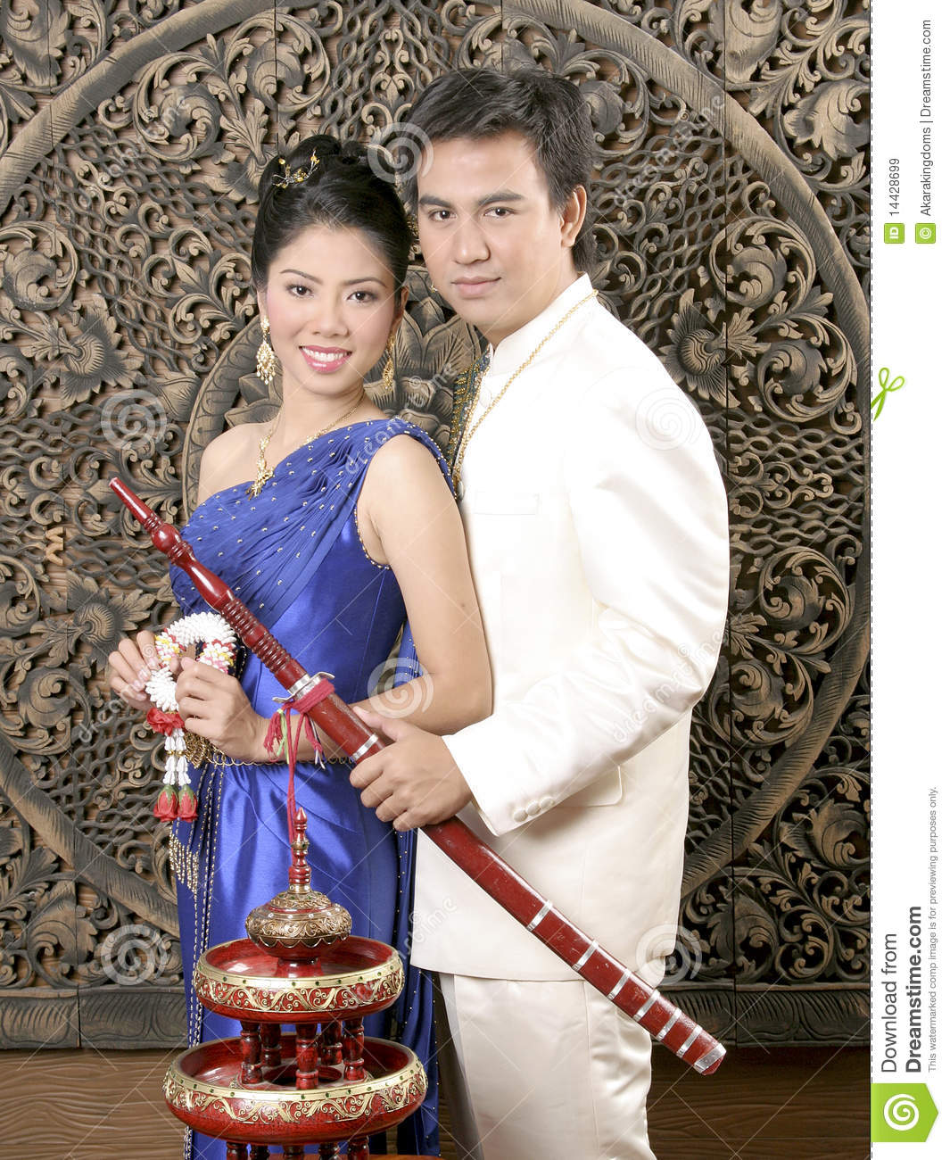 Thai Man And Woman In Silk Dress Stock Image - Image of