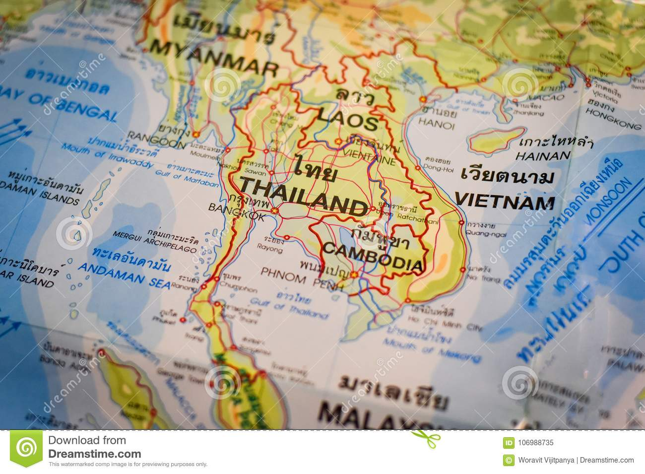 Thai map and asia map stock image image of background 106988735 thailand map global map may use as background gumiabroncs Choice Image