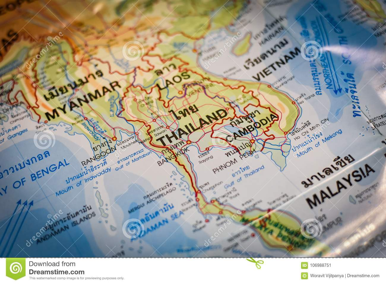 Thai map And Asia map stock image. Image of background - 106988751