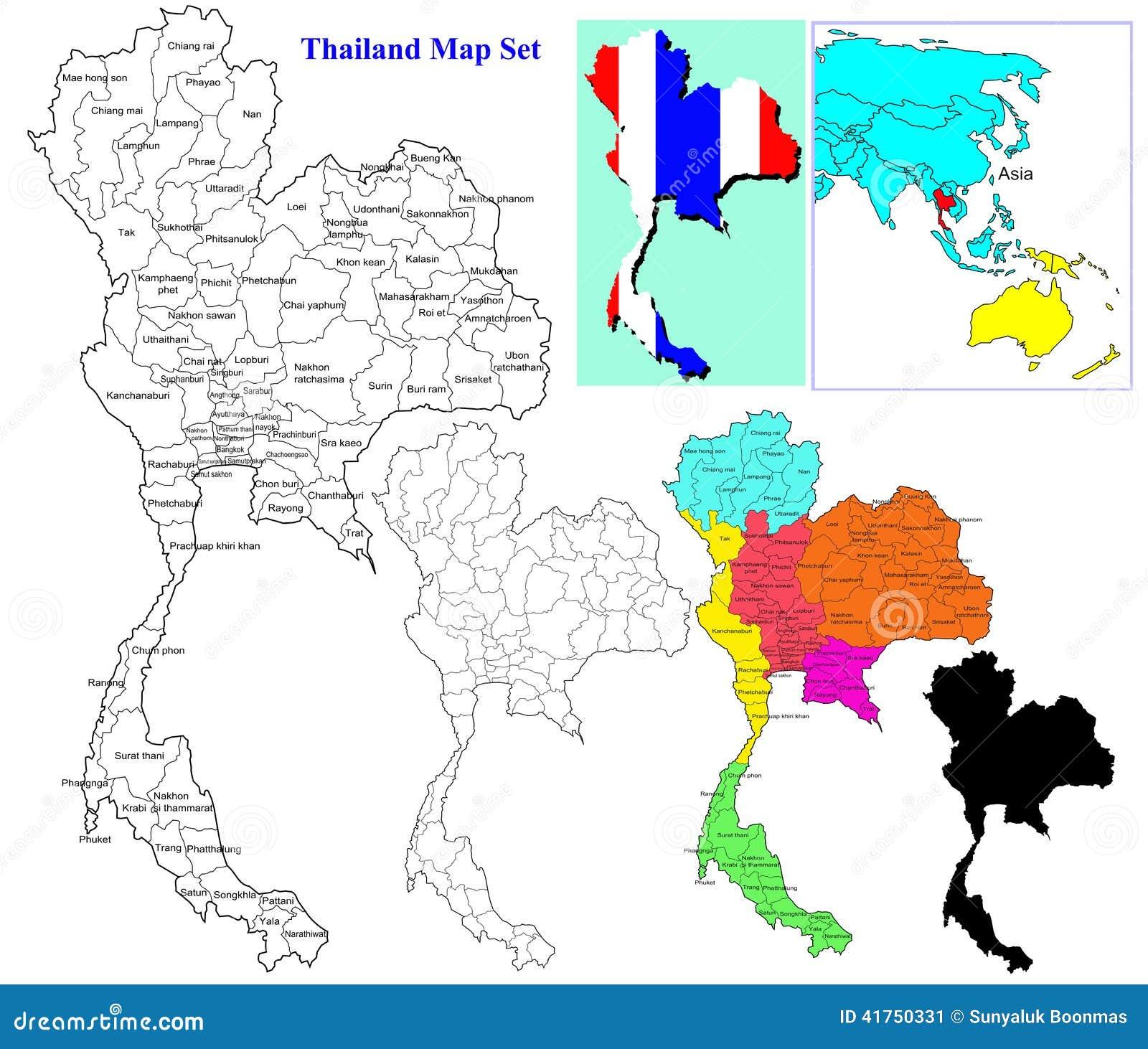 Thai Map Set Stock Illustration Image - Thailand regions map