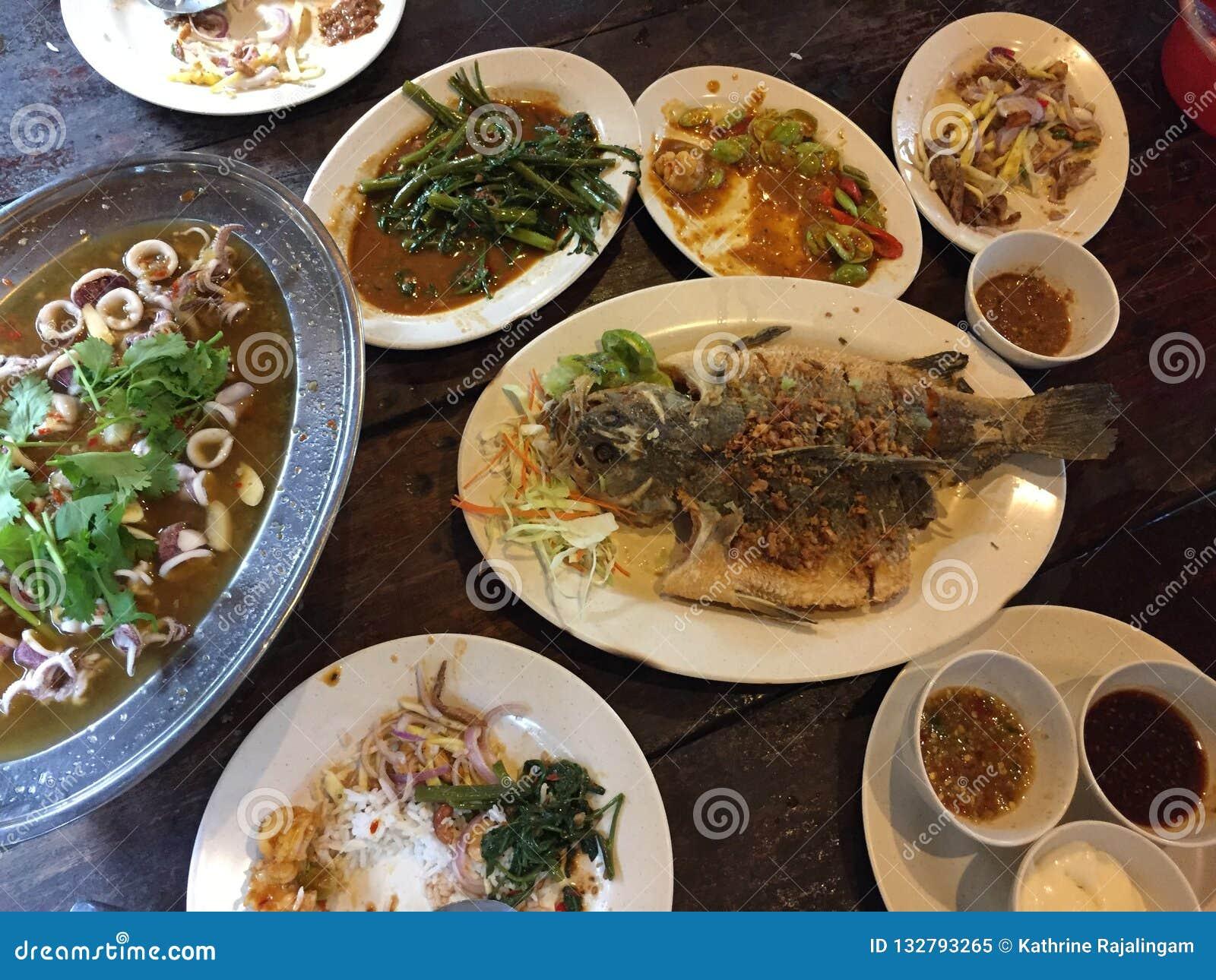 Thai meal in a restaurant