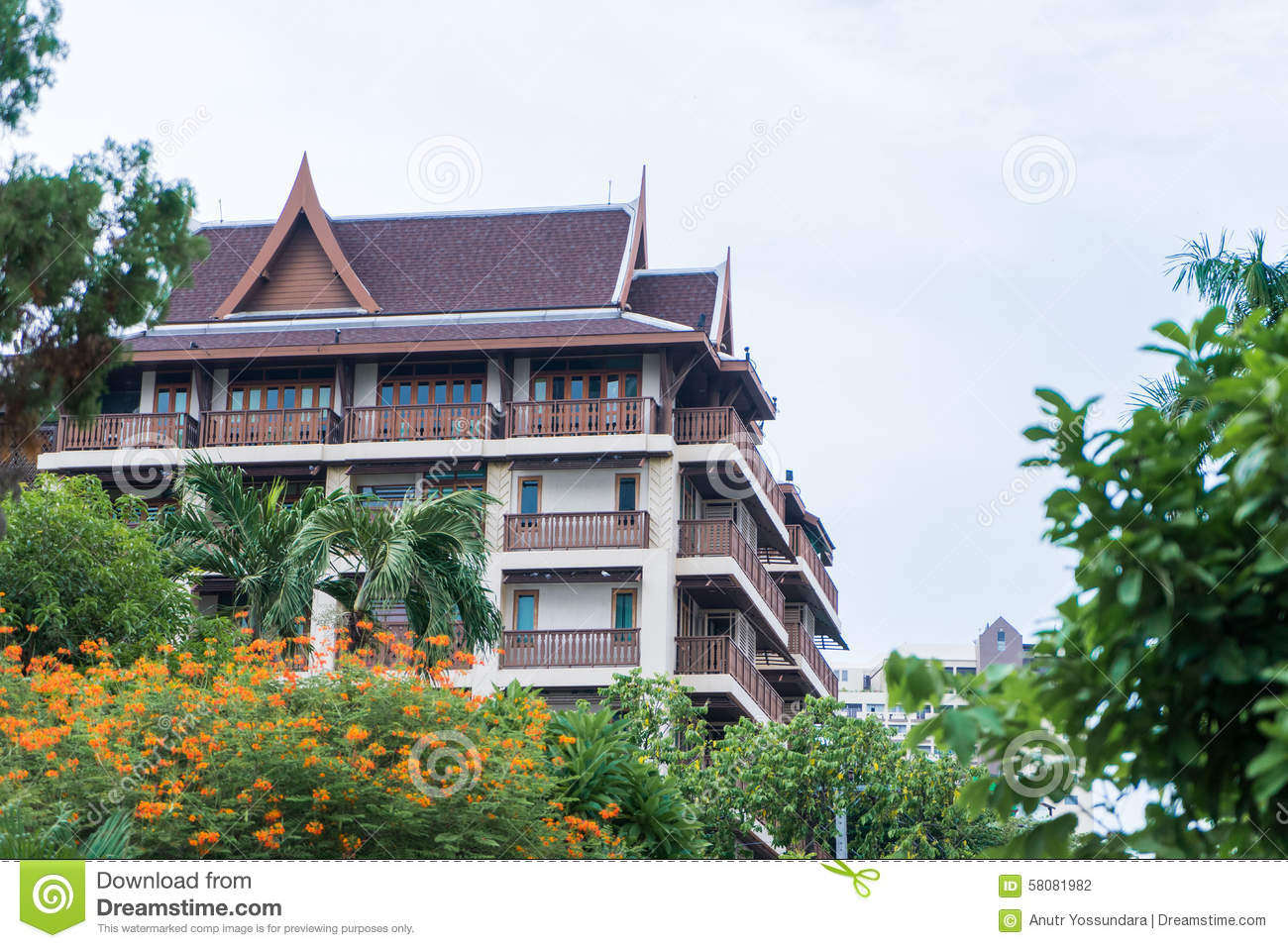 Thai Modern Architecture Stock Photo Image 58081982