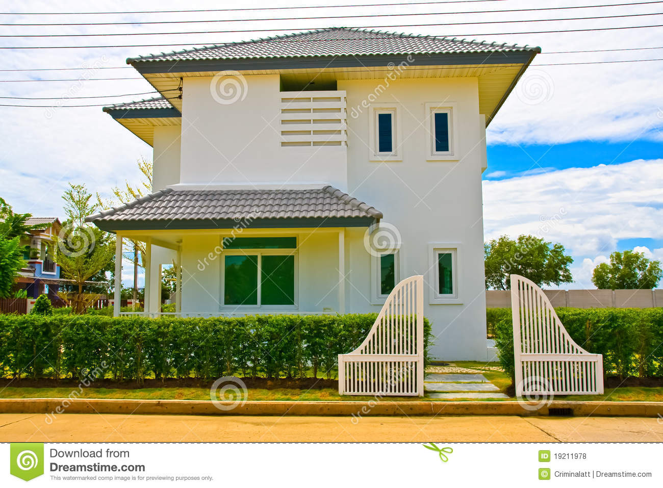 Thai modern style house from front stock photo image for Thai modern house style