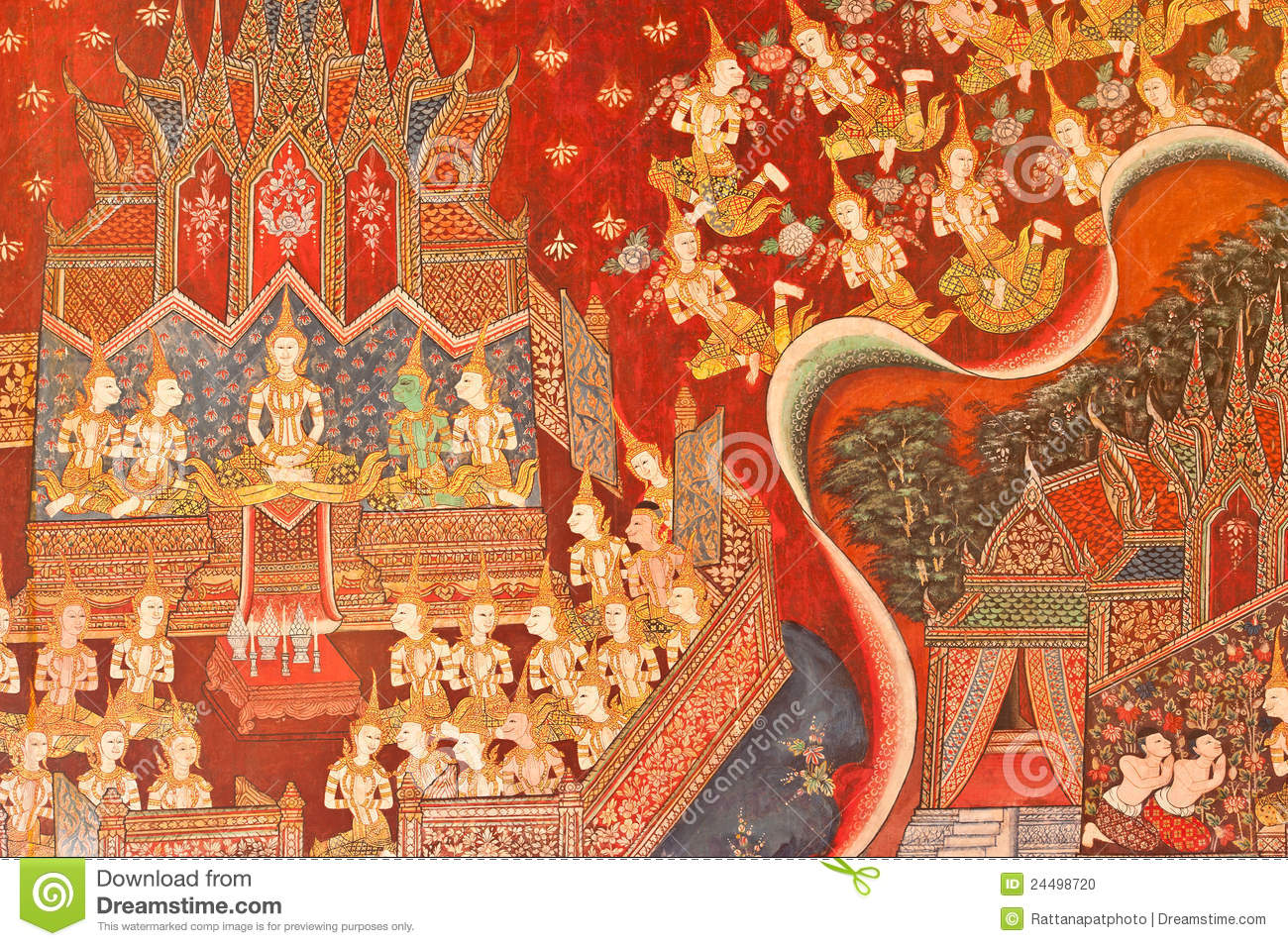 Thai mural painting stock photo image 24498720 for A mural is painted on a