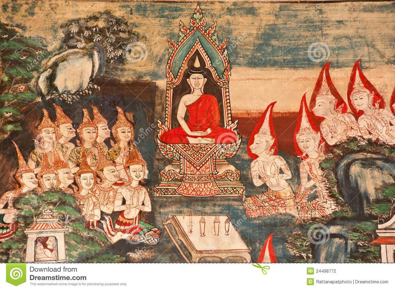 Thai mural painting stock photo image of demon famous for Cost of mural painting
