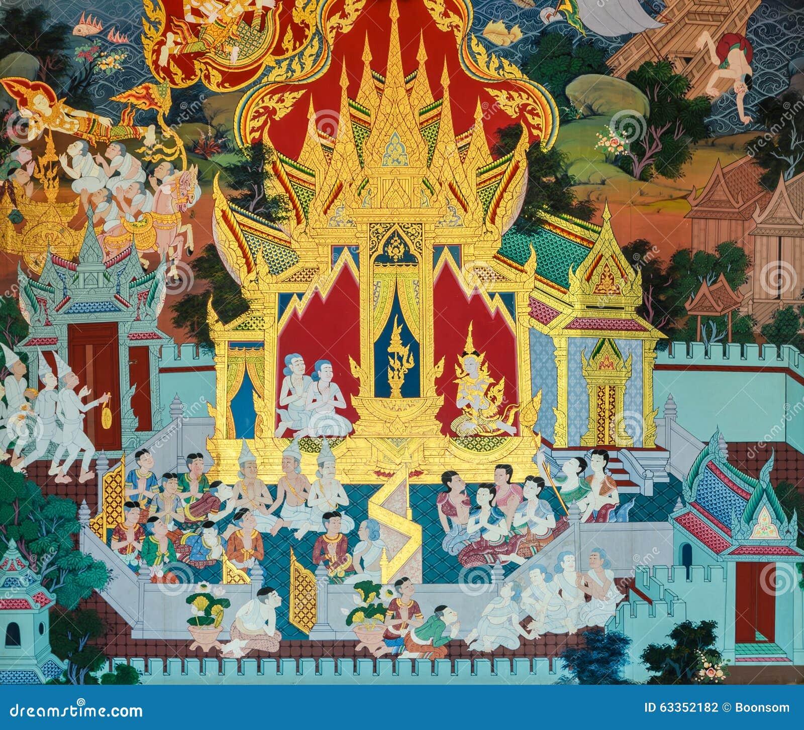 Thai mural painting art stock photo image of life for Buddha mural art