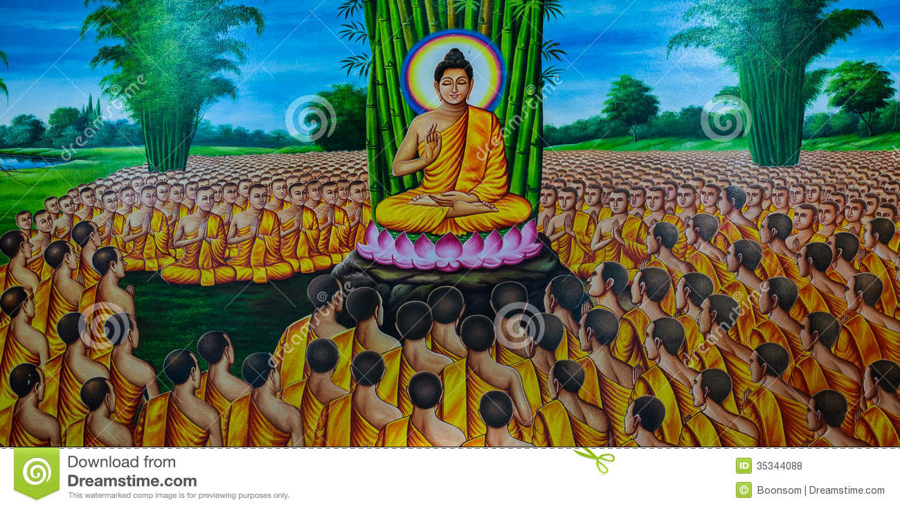 Thai mural painting stock photo image of monk famous for Buddha mural art