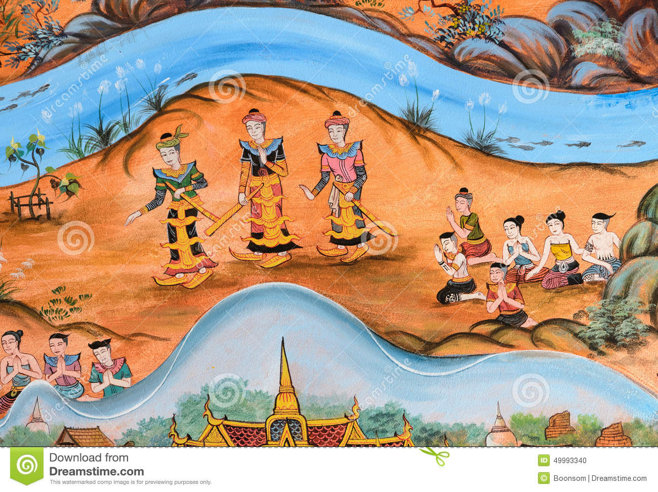 Thai mural painting of thai lanna life in the past stock for Average cost of mural painting