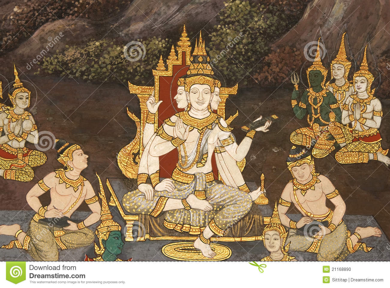 Thai mural painting on the wall wat phra kaew stock photo for Cost of mural painting