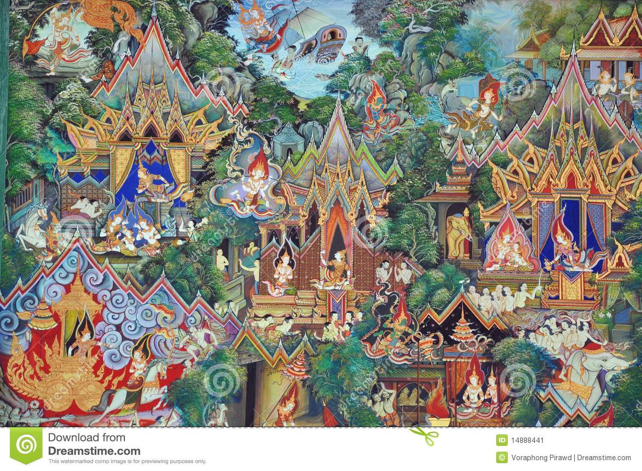 Thai mural paintings stock image image 14888441 for Average cost of mural painting