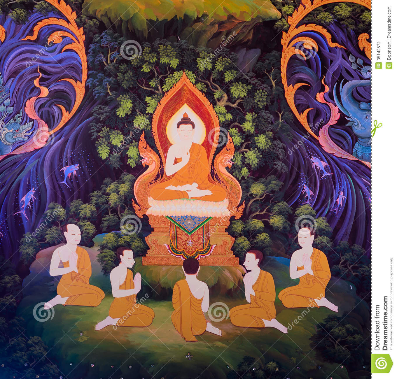Thai mural stock photography image 35142572 for Buddha mural art