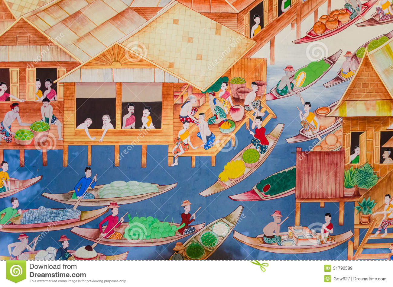 Thai old lifestyle 300 years ago living with water for A mural is painted on a