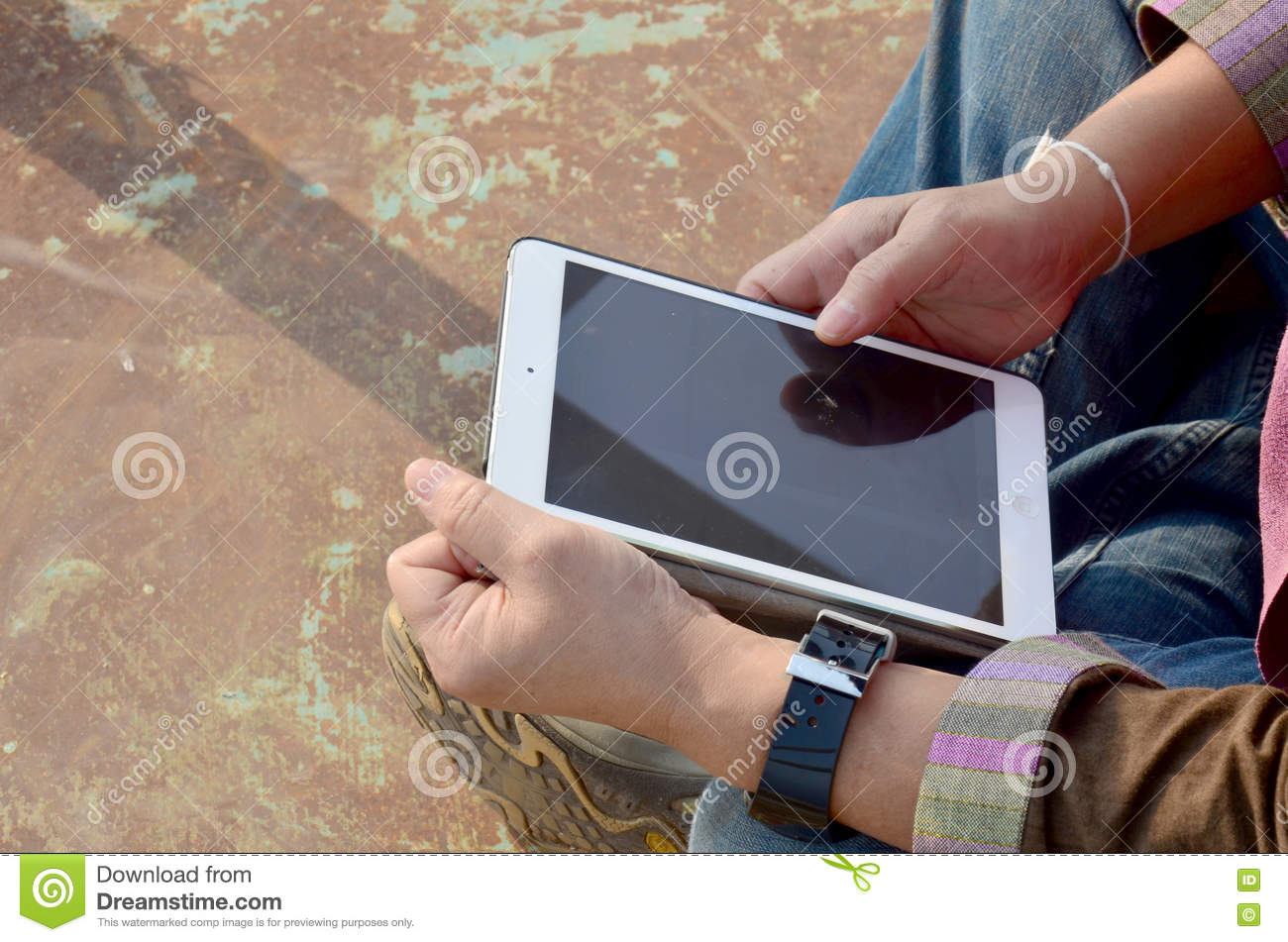 Thai Old Woman Playing Tablet On Deck Of Ship Stock Photo
