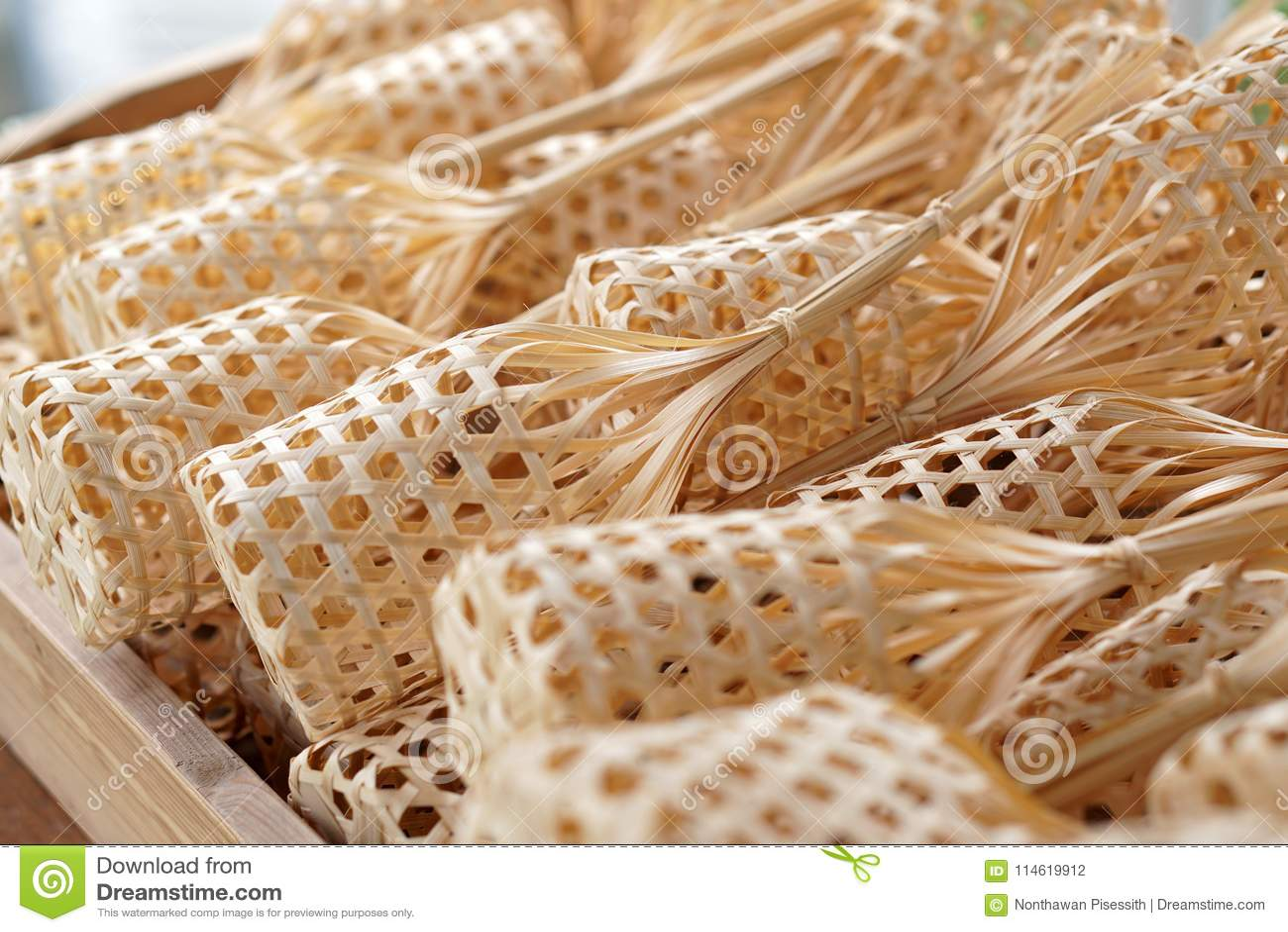 Thai Organic Bamboo Weave Basket Package Design Stock Photo Image