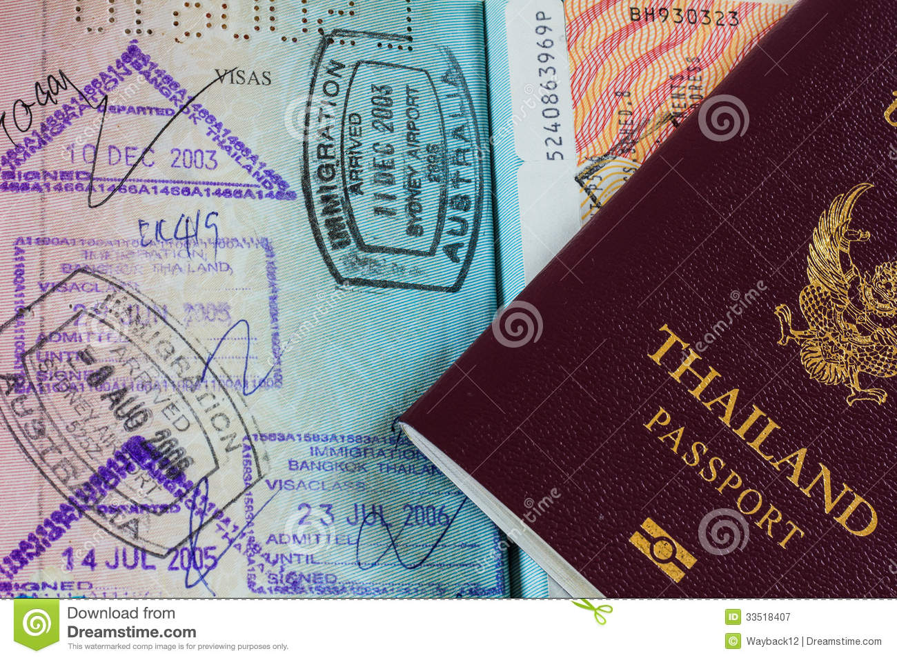 87e1713b3 Thai passport with stamps stock image. Image of immigration - 33518407