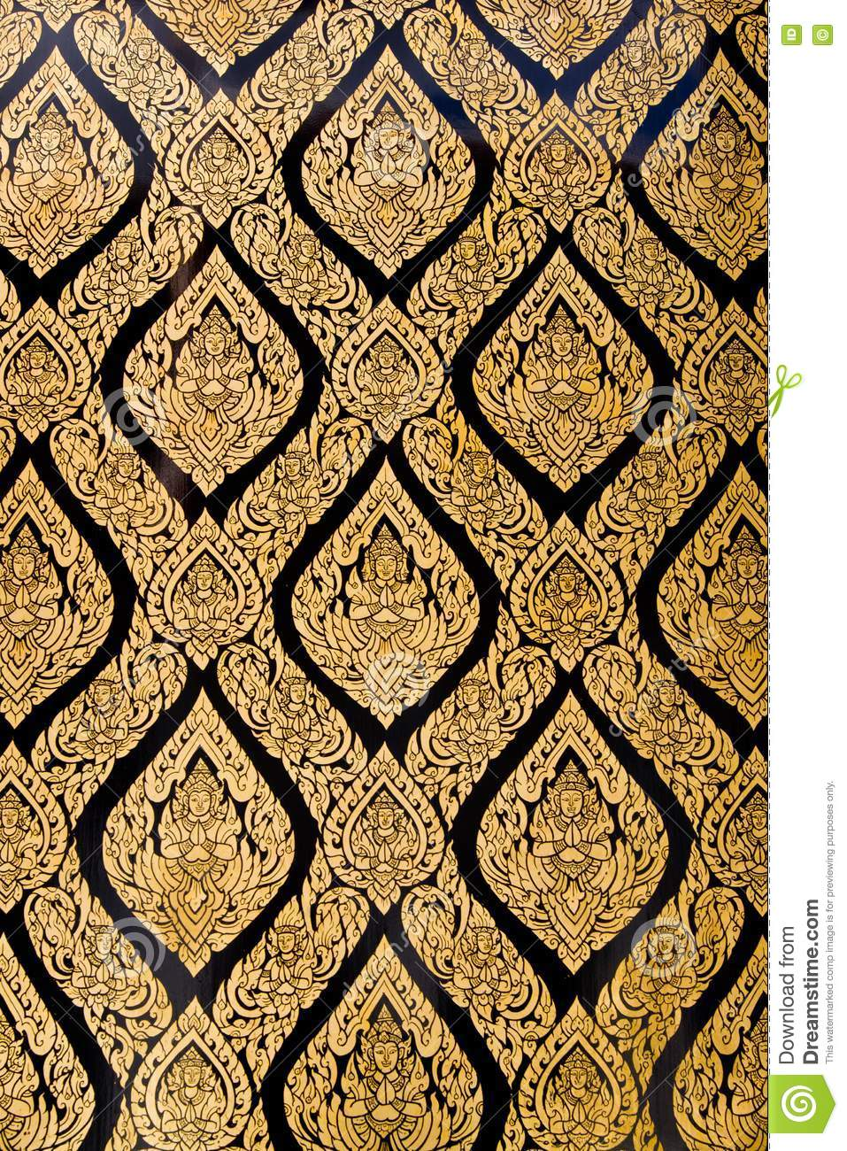Thai Pattern Style On Church Wall Stock Photography