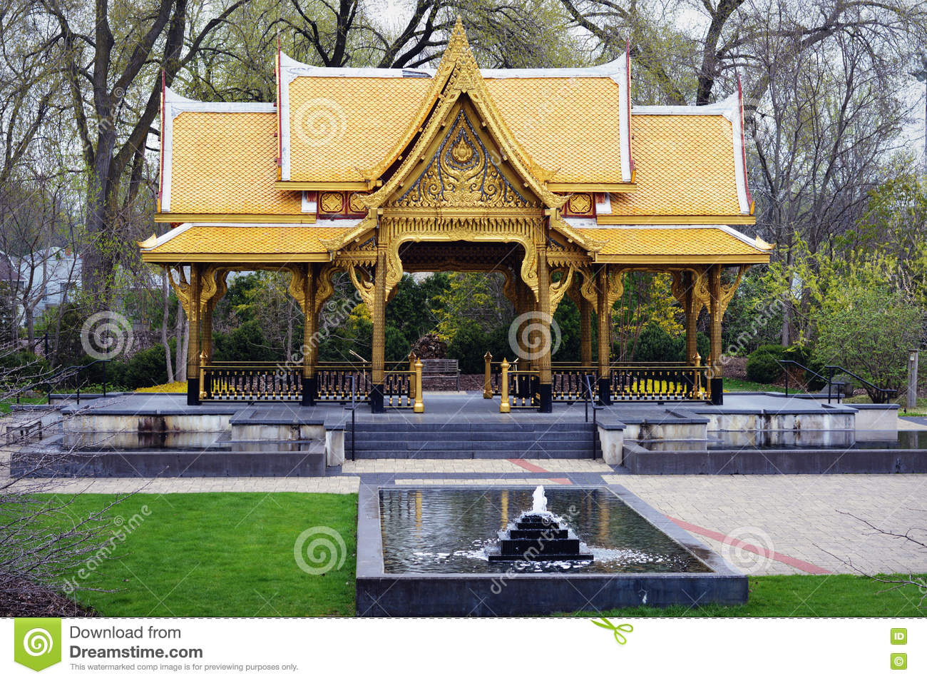 Fall Comes To Garden Of Thai Pavilion >> Thai Pavillion Stock Image Image Of Gardens Wisconsin 71017527