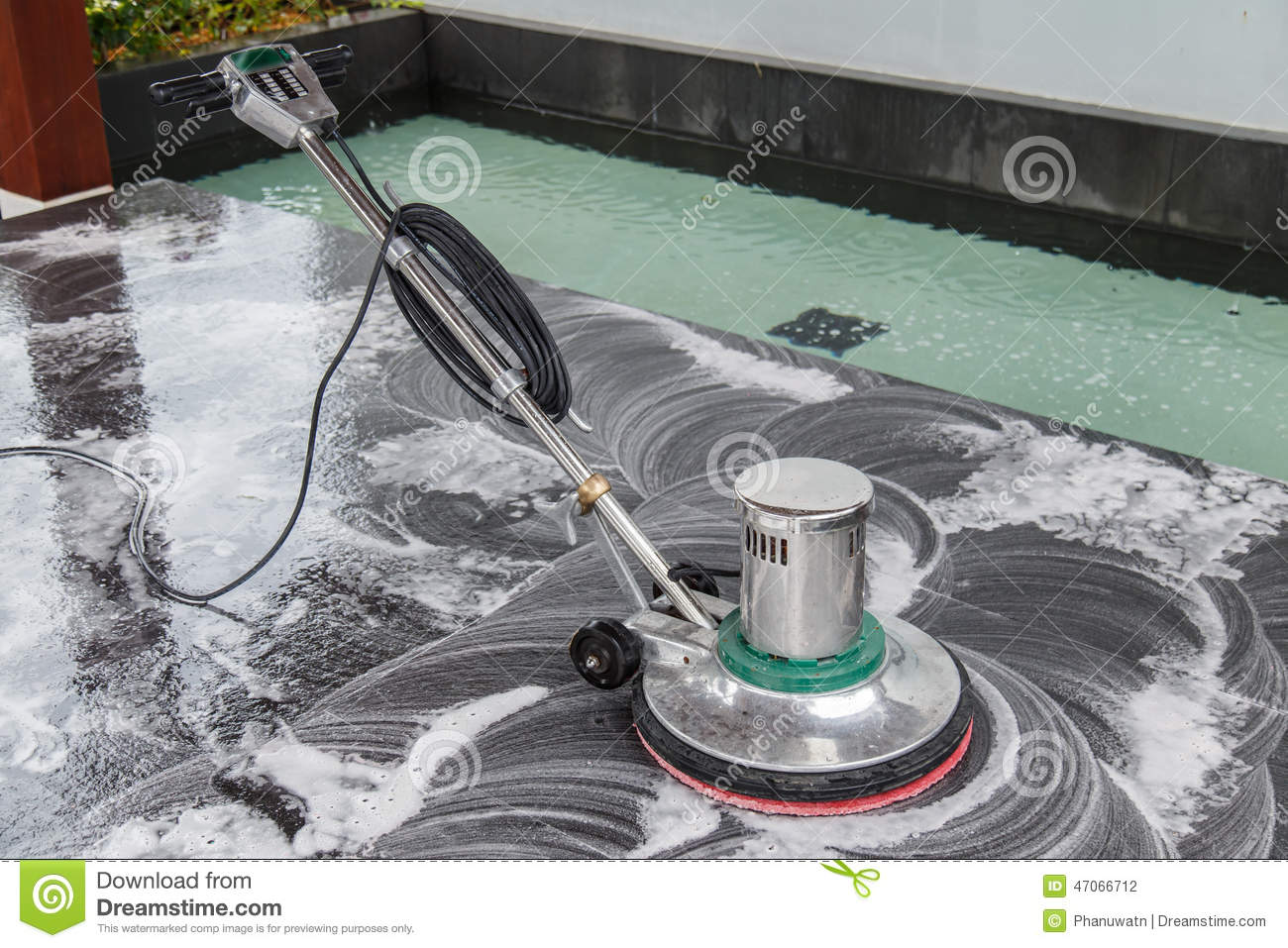 Cleaning black touristic motorbike with water stock for Floor someone