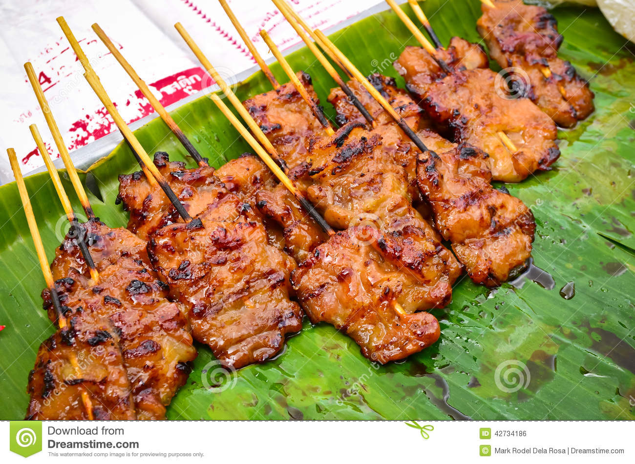 Thai Pork Barbecue Street Food Stock Photo - Image: 42734186