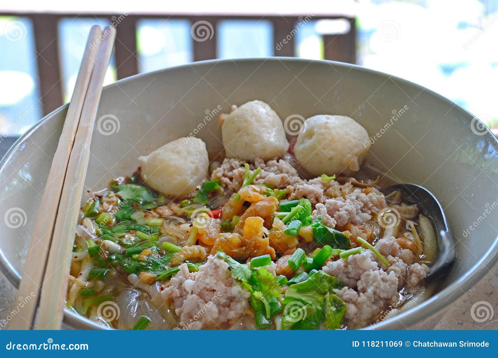 Thai Pork Noodle In White Bowl Stock Image - Image of thai