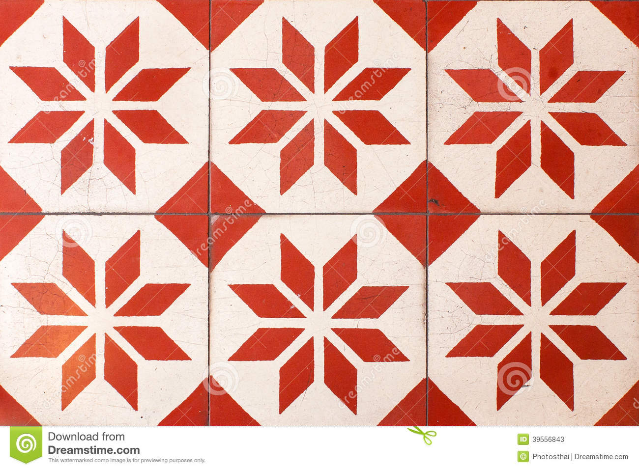 Old Retro Pattern Thais Style Floor Tiles Background