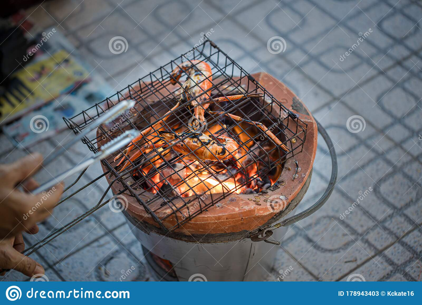 Thai River Prawns Grilled Over Charcoal Grill Grilled On A Bbq Thai Iron Grill Giant Grilled Lobster Cook On Charcoal Stove At T Stock Image Image Of Gourmet Dinner 178943403