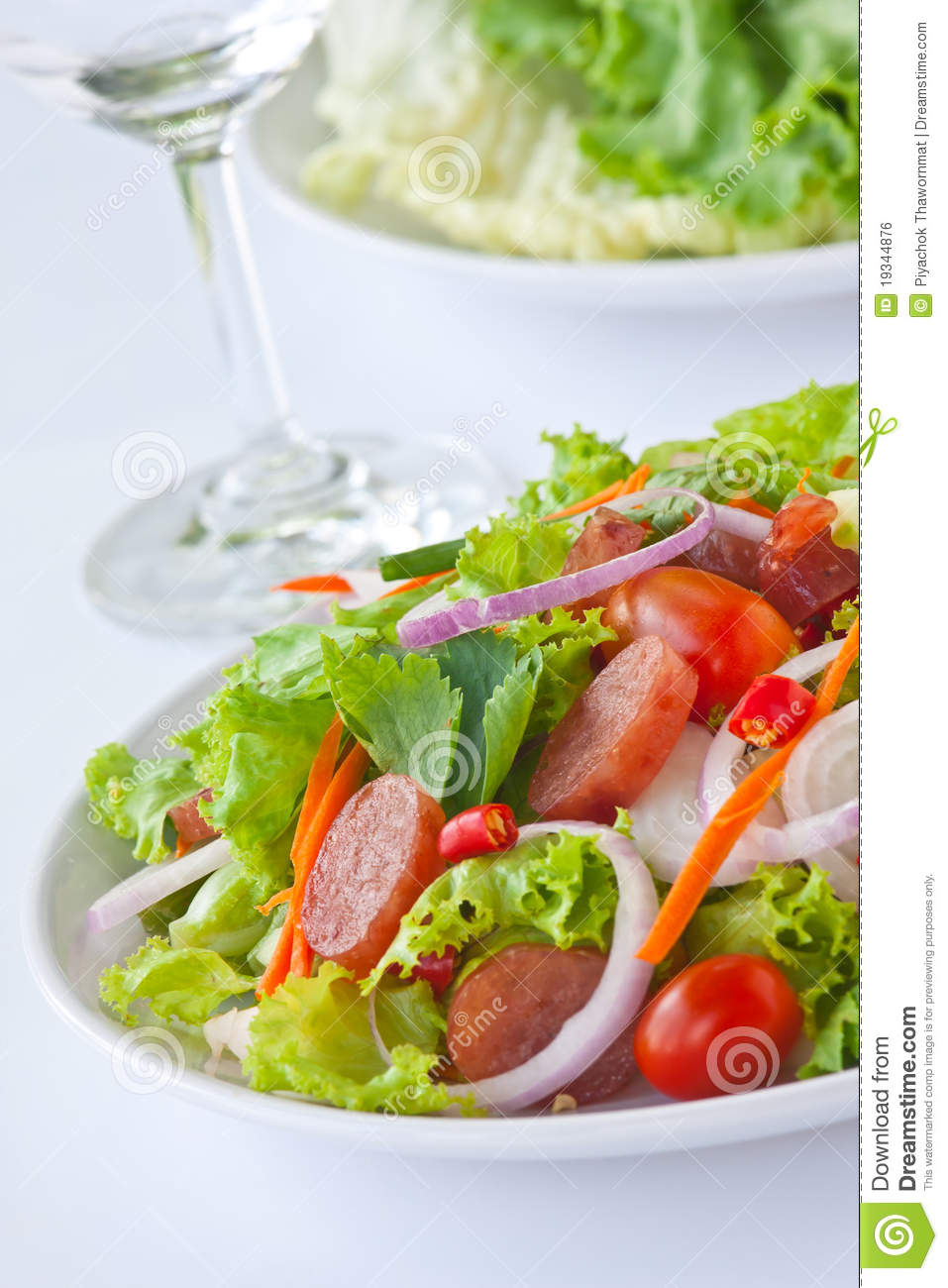Royalty Free Stock Image: Thai sausage salad spicy-sour dressing